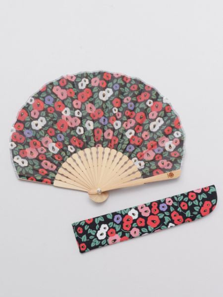 Retro Camellia Foldable Fan with Pouch-Ametsuchi