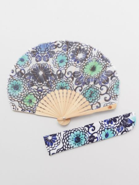 KIKU KARAKUSA Foldable Fan with Pouch-Ametsuchi