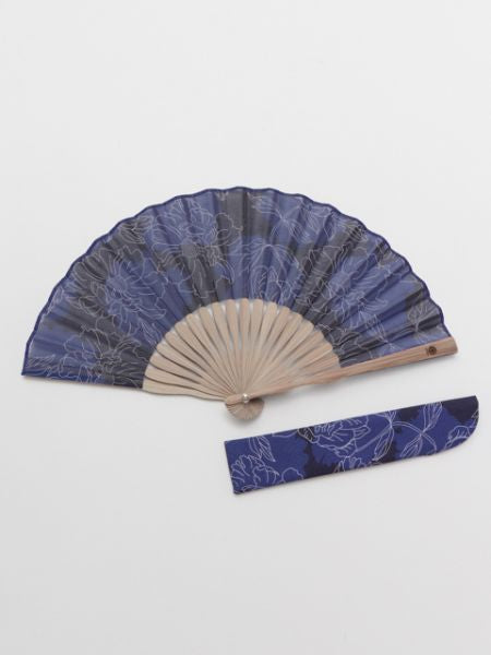 Peony Foldable Fan with Pouch-Ametsuchi
