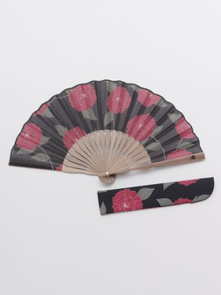 Camellia Foldable Fan with Pouch-Ametsuchi