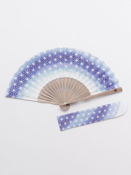 ASANOHA Pattern Foldable Fan with Pouch-Ametsuchi