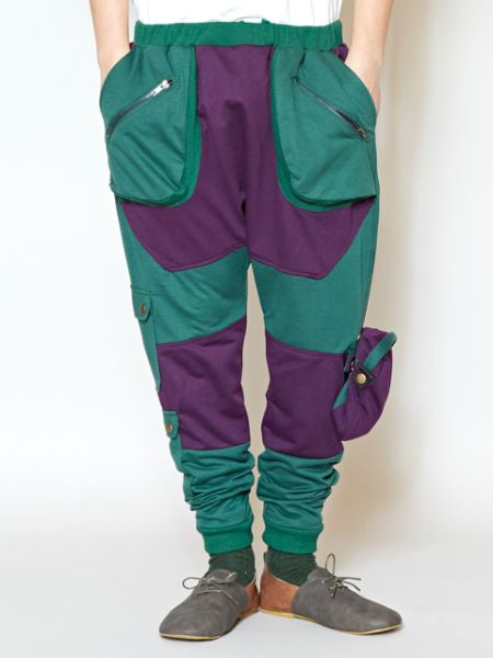 Bi Color Festival Pants with Mini Pouch-Pants & Shorts-Ametsuchi