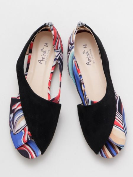 Colorblock Open Toe Pumps