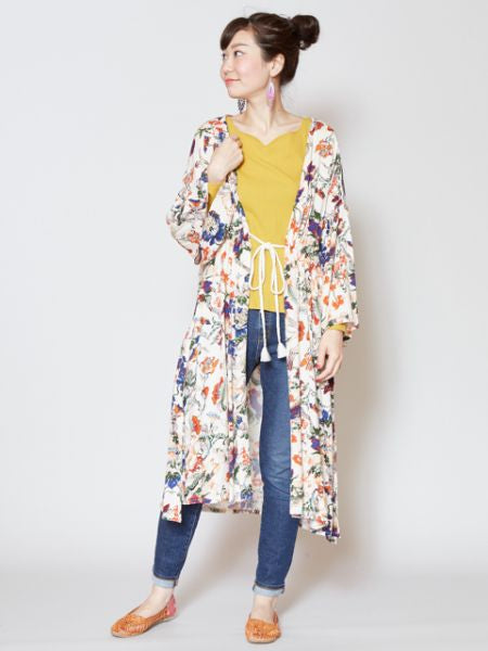Floral Long KIMONO Cadigan-Cardigans & Outerwear-Ametsuchi