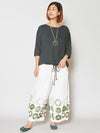 Dot Cotton Cropped Pants-Pants & Shorts-Ametsuchi