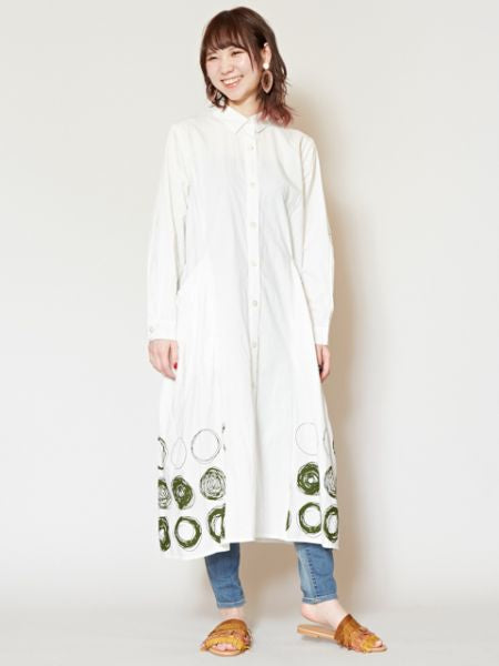 Dot Pattern Shirt Kaftern Dress