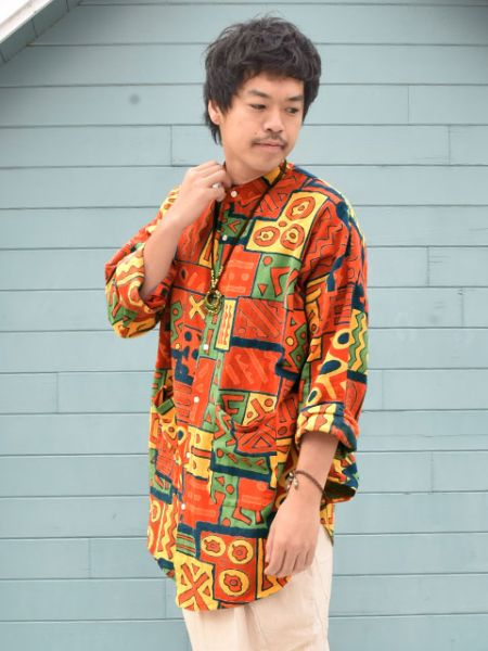 Bogolan Pattern Band Collar Long Shirt-Chemises-Ametsuchi