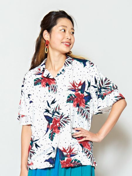 Flower x Dot Pattern Hawaiihemd-Shirts & Blusen-Ametsuchi