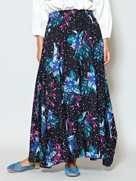 Flower x Dot Pattern Long Skirt-Jupes-Ametsuchi