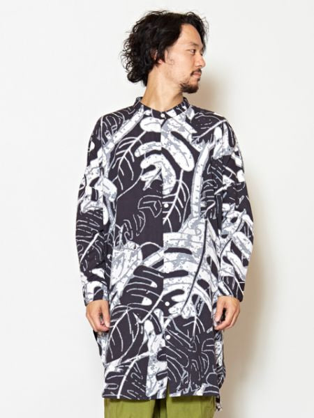 Leaf Pattern Stand Collar Long Shirt-Shirts-Ametsuchi