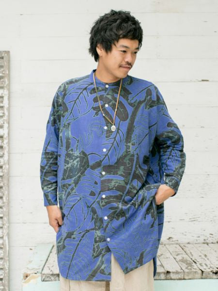 Leaf Pattern Stand Collar Long Shirts-Shirts-Ametsuchi
