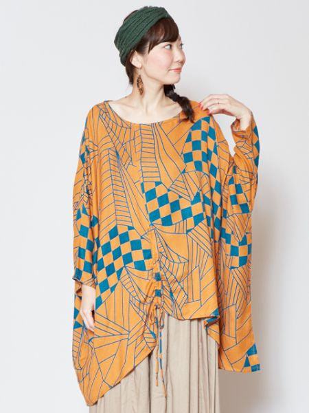 African Pattern Inspired Asymmetrical Top-Ametsuchi