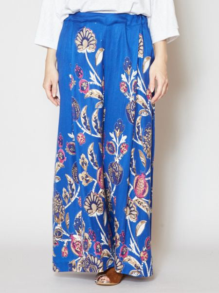 Oriental Flower Wide Leg Pants