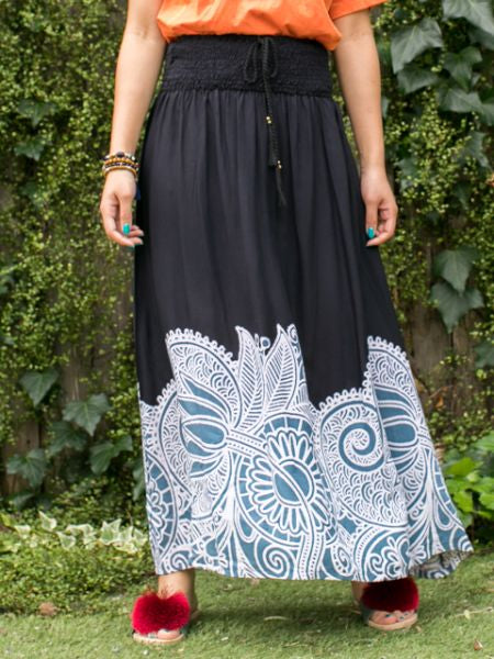 Ethnic Flower Print Long Skirt