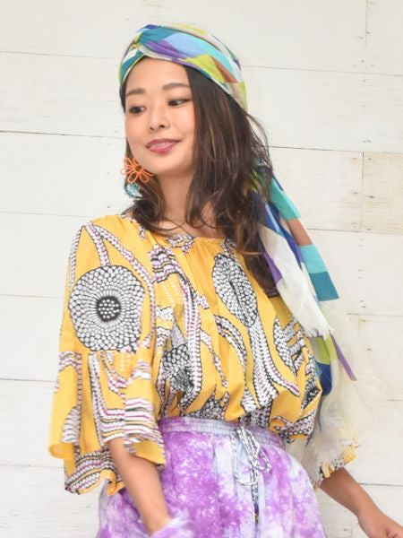 African Pattern Volume Sleeve Blouse