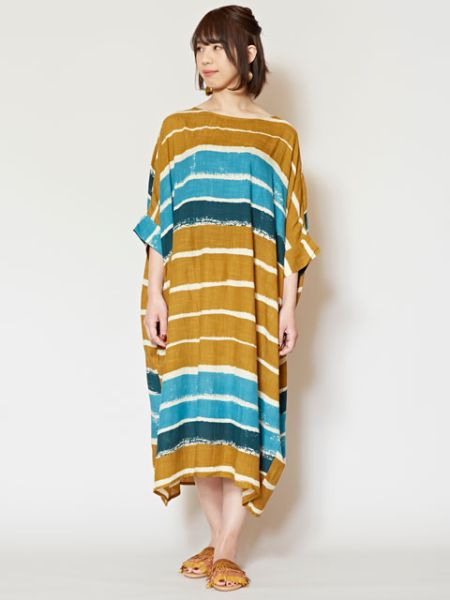 Retro Modern Stripe Midi Dress
