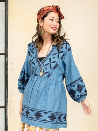 Embroidered Denim Blouse-Ametsuchi