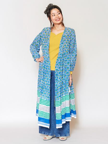 Blockprinted Crossover Cardigan Dress-Ametsuchi