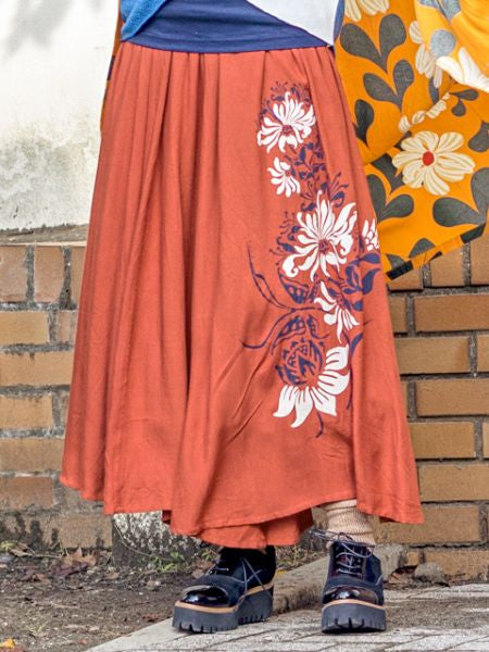 Lotus Print Flare Wide Leg Pants