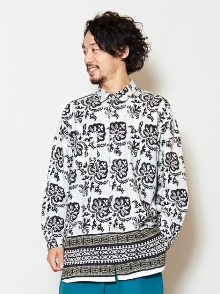 Blockprint Men's Wide Shirt-Ametsuchi