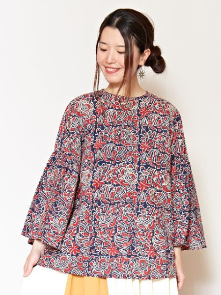 Blockprint Flare Sleeve Bluse