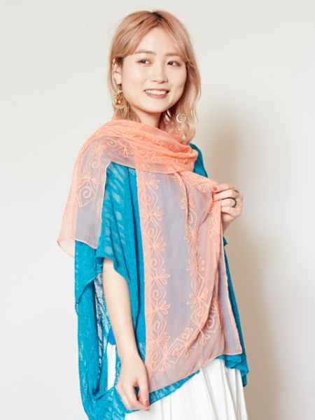 Embroidered Chiffon Scarf