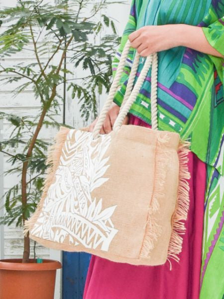 Polynesian Tribal Pattern Jute Tote Bag