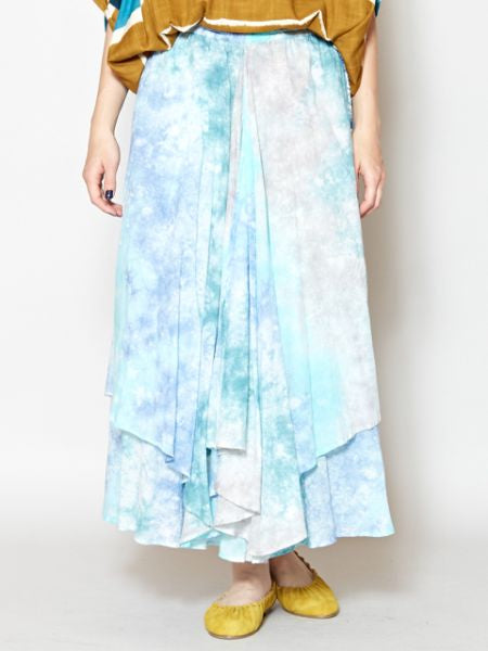 Tie Dye Layered Long Skirt