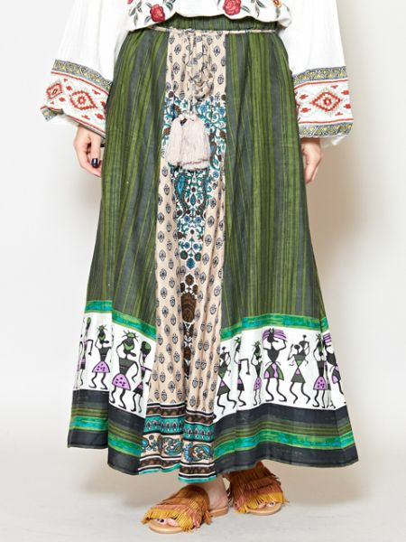 Mixed INDIAN Motif Patchwork Skirt-Ametsuchi