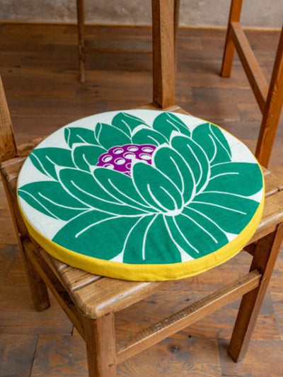 Lotus Pattern Round Cushion