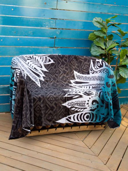 Navajo Feather Pattern Bed Cover | Multi Cloth-Ametsuchi
