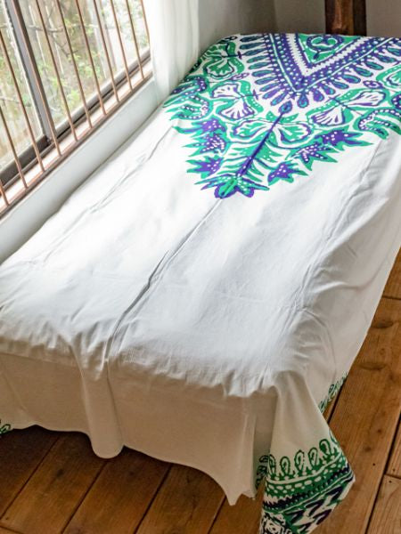 African DASHIKI Pattern Bed Cover Multi Cloth