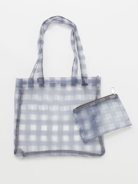 Plaid Sheer Tote Eco Bag an d Pouch