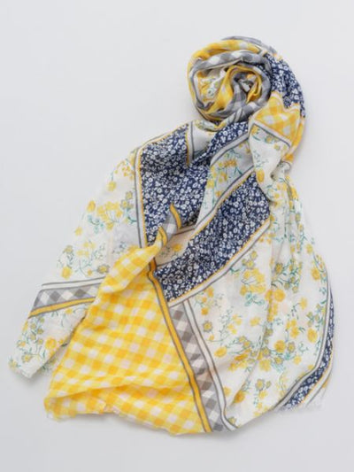 Flower & Plaid Stole-Scarves-Ametsuchi