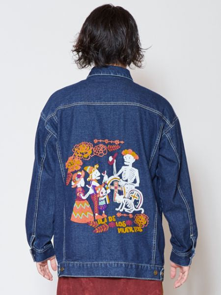 CALAVERA Family Embroidered Men's Denim Jacket-Ametsuchi