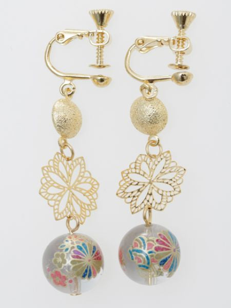 Chrysanthemum Ball Clip Earrings