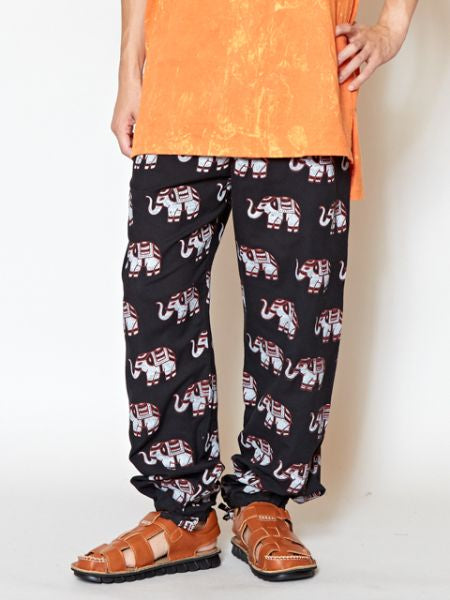 Nepalese Cotton Elephant Print Easy Pants-Ametsuchi