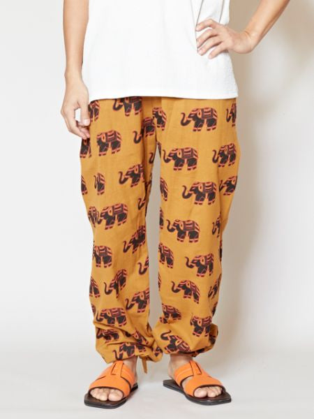 Nepalese Cotton Elephant Print Easy Pants