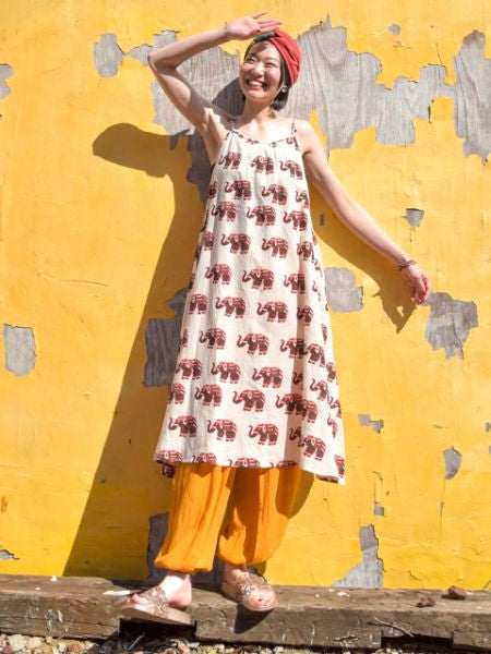 Nepalese Cotton Elephant Print Cami Midi Dress-Ametsuchi