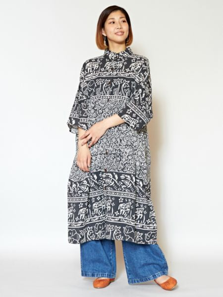 Animal x Paisley Pattern Shirt Dress