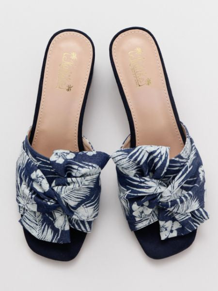 Botanical Pattern Open Toe Sandals