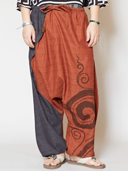 Bi Color Asymmetrical Harem Pants