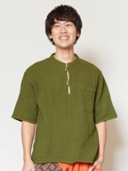 Thai Cotton Band Collar Top-Ametsuchi