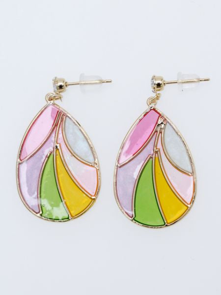 Stained Glass Style Drop Earrings