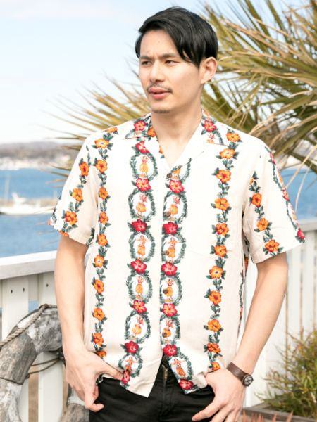 TWO PALMS Vintage HULA Style HAWAIIAN Shirt-Ametsuchi