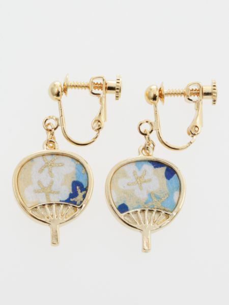 UCHIWA Round Fan Clip Earrings