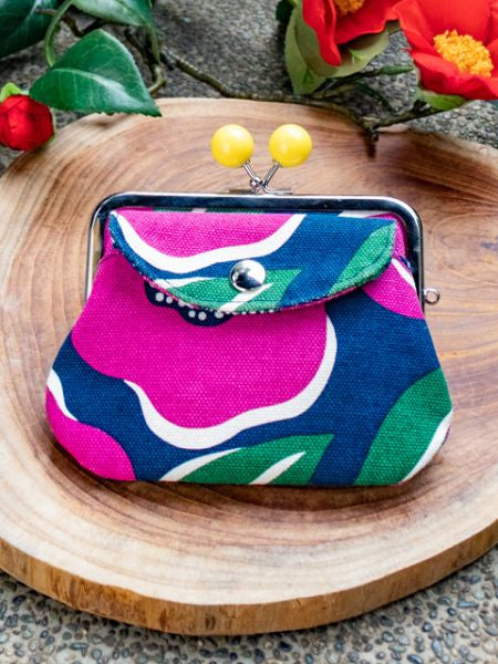 Large Colorful Camelia Twin GAMAGUCHI Purse