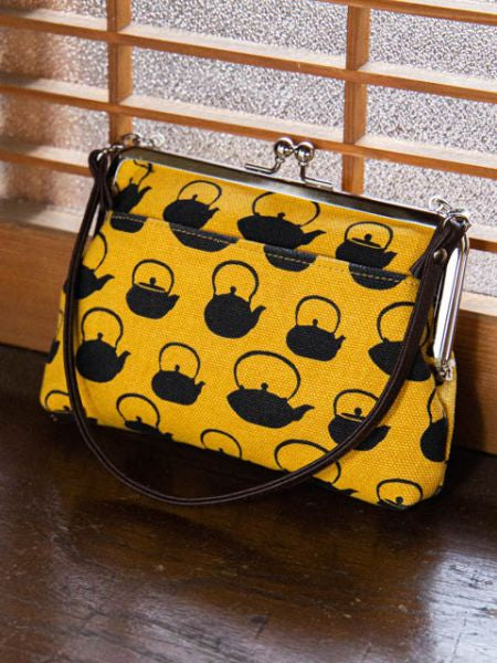 Retro Muster HANPU GAMAGUCHI Top Handle Purse-Ametsuchi