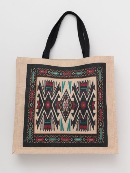 Navajo Pattern Large Jute Tote Bag
