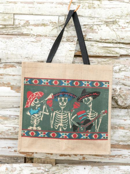 CALAVERA Pattern Large Jute Tote Bag